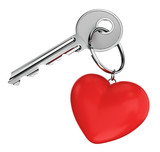 Door key and heart shaped keyring