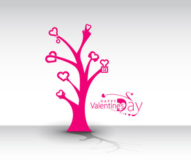Valentine Day Heart Tree Design.