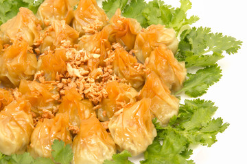 Siomai,steamed pork dumplings on white background