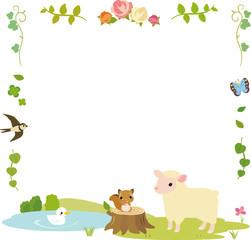 森の草花と動物のフレーム