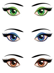 Cartoon female eyes