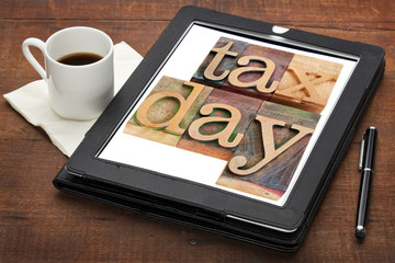 tax day reminder on digital tablet