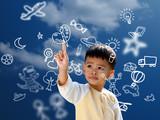 Fototapety Asian children press the flying imagine symbol