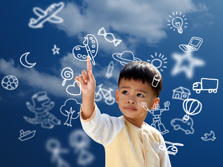 Asian children press the flying imagine symbol