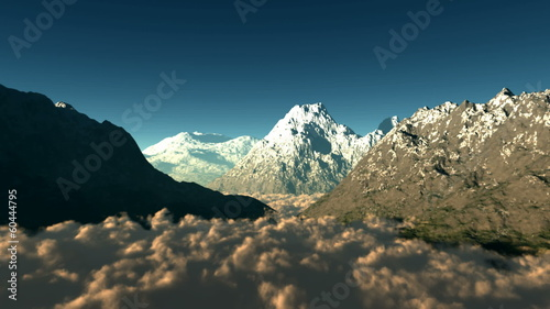 mountains with clouds. aerial shot