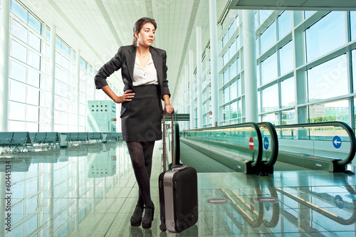 businesswoman standing at the airport