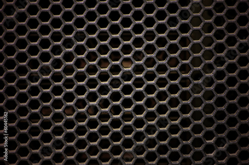 Hexagonal, honey comb stainless steel mesh on black