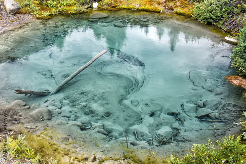 Natural hot pools in rocky mountains