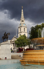 Trafalgar Square in London, Stormy background