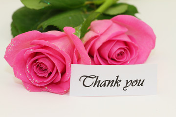 Thank you card with pink roses