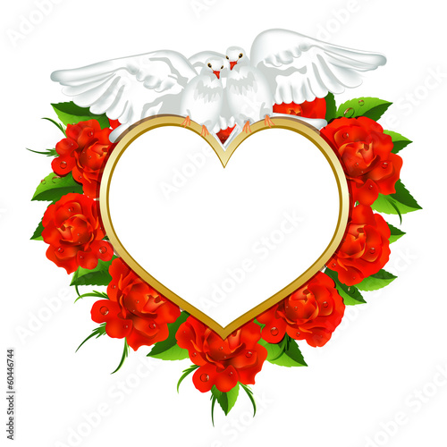Greeting  valentines card with roses and pigeons