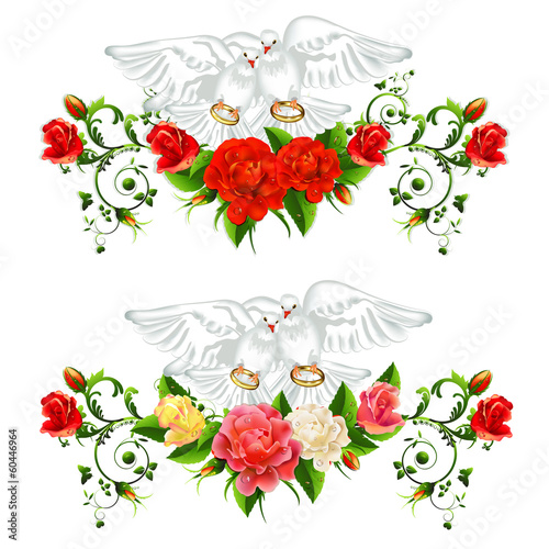 Roses , pigeons and wedding rings