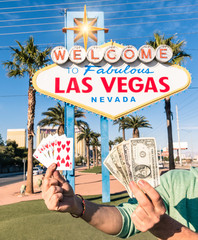 Las Vegas Sign - Poker Cards and Money