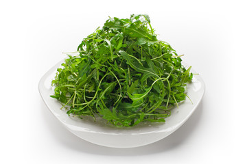 Green ruccola salad isolated