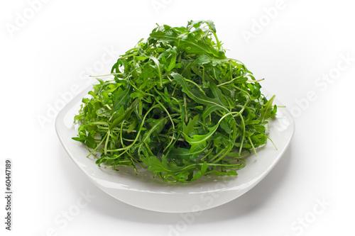 Green ruccola salad isolated