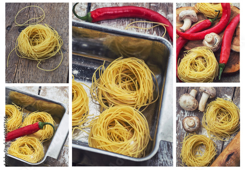 collage with the process of preparing pasta and ingredients