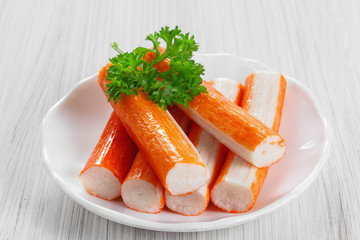 Crab sticks on a platter