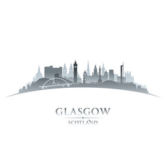 Glasgow Scotland city skyline silhouette white background