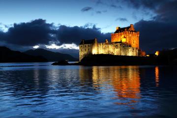 Eilean Donan Castle at dusk, Scotland, United Kingdom