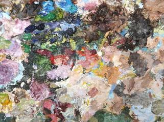oil-paint palette closeup
