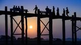 U Bein bridge at sunset in Amarapura near Mandalay, Myanmar (Bur poster