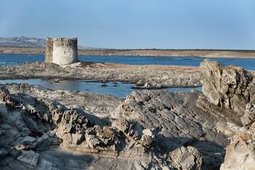 Aragonese tower in Stintino, Sardinia. Italy.