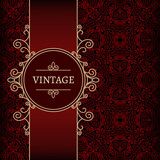 Ornamental gold label over red pattern, vintage background