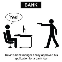 Kevin finally got his bank loan cartoon
