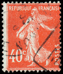 FRANCE - CIRCA 1906: stamp printed by France shows sowing, circa
