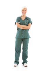 Young blonde surgeon in uniform  - isolated