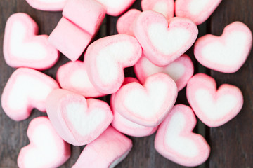 heart shape of marshmallows