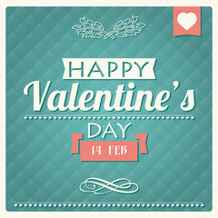 Happy Valentine s day typographical poster, vector illustration