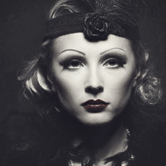Classic retro female portrait with grungy texture for your desig