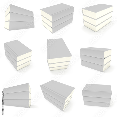 3D blank books cover set over white background