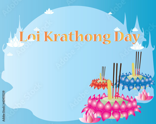 Loy Krathong Card - Happy festival in thailand