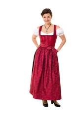 Attraktive dunkelhaarige Frau in bayerischer Tracht