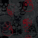 Colored horror skull seamless pattern