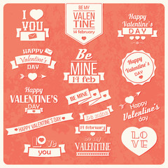 Collection of Valentine s day vintage labels, typographic