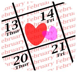 valentines day calendar icon