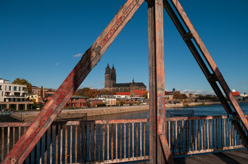 Old Railway Bridge over the Elbe in Magdeburg, Germany