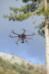 Multicopter flying.