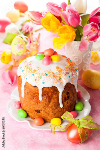 Easter cake and eggs