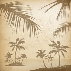 Summer palms background grunge, vector illustration