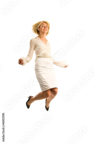 Full-fame of woman jumping in air