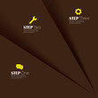 abstract brown paper sheets with sequence of steps - vector info