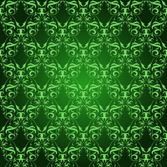 Vintage Damask seamless pattern on green