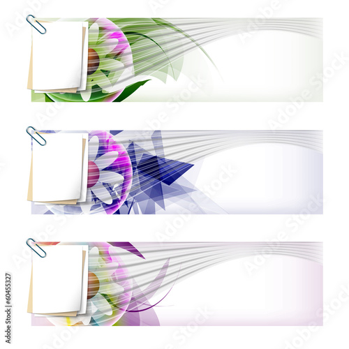 set colored abstract banner with flower and paper clip