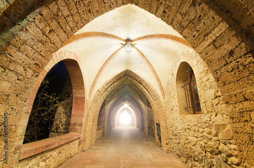 Fantasy ancient Monastery corridor, with light at the end.