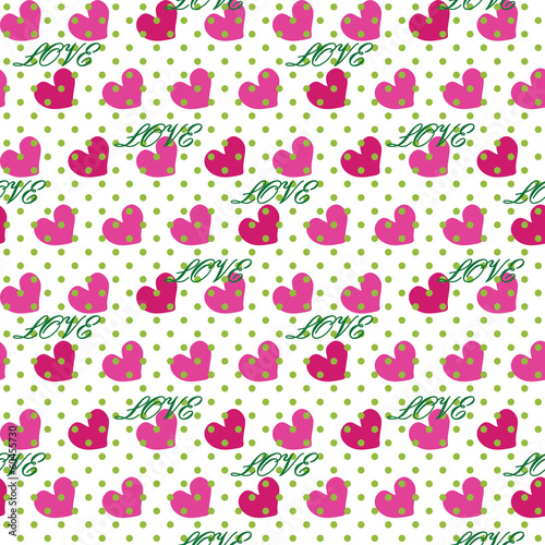 Heart with polka dot and word love.Seamless pattern.Vector