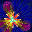 Multicolor beautiful fractal flower in blue, purple and gold. Co